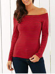 Off The Shoulder Striped T-Shirt - RED XL