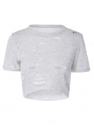 Ripped High-Low Cropped T-Shirt - GRAY S