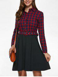 Long Sleeve Plaid Splicing Dress - RED WITH BLACK