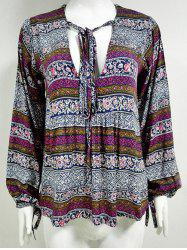 Drawstring V Neck Tribal Blouse -