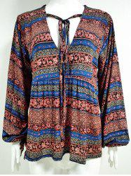 Drawstring V Neck Blouse Tribal - Plume