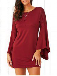 Flare Sleeve Fitting A-Line Dress - CLARET M