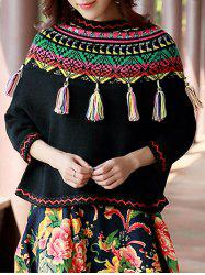 Geometric Print Tassels Sweater -