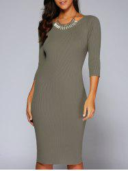 Concise 3/4 Sleeve Close-Fitting Knit Dress -