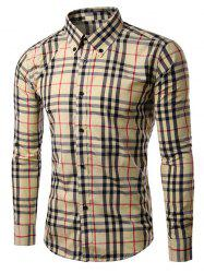 Checked Long Sleeve Button-Down Shirt -