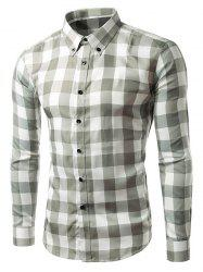 Slim Fit Long Sleeve Grid Button-Down Shirt - GRAY L