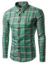 Long Sleeve Gingham Button-Down Shirt - GRASS GREEN