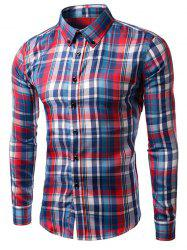 Turn-down Collar Long Sleeve Plaid Shirt -