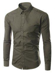 Turn-down Collar Long Sleeves Plain Shirt -