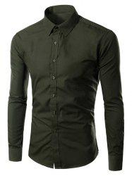 Turn-down Collar Long Sleeves Plain Shirt - BLACK GREEN