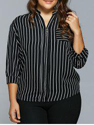 Front Pocket Buttoned Striped Blouse -