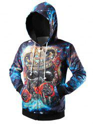 Zipper-Up Crown Skull Printed Galaxy Hoodie - COLORFUL