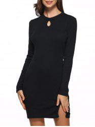 Keyhole Fitted Mini Sweater Dress - BLACK