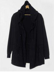 Drawstring Waist Long Sleeve Hooded Longline Coat - BLACK L