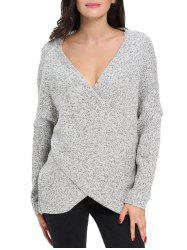 Chunky Cross Wrap Plunging Neck Pullover Sweater - GRAY M