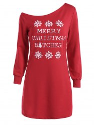 Skew Neck Christmas Long Sleeve Dress - RED