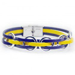 Hand Crafted Woven Faux Leather Ring Bracelet - BLUE