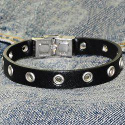 Hollow Ring Charm Faux Leather Bracelet