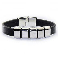 Faux Leather Ring Charm Bracelet - BLACK
