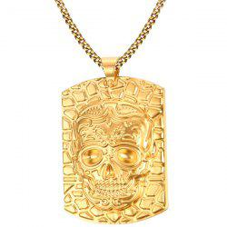 Embossed Skull Pendant Necklace -