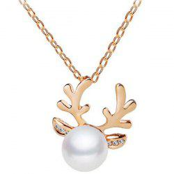 Rhinestone Faux Pearl Antlers Necklace