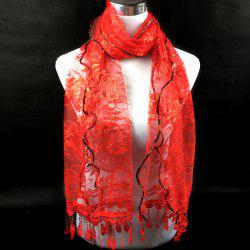 Dentelle Flower Feather Fringe Lace Scarf - RED