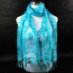 Dentelle Flower Feather Fringe Lace Scarf - LAKE BLUE