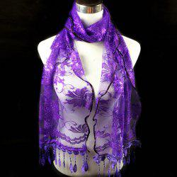Dentelle Flower Feather Fringe Lace Scarf - PURPLE
