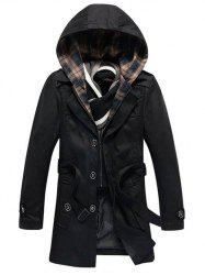 Detachable Hooded Epaulet and Belt Embellished Single-Breasted Coat - BLACK