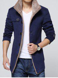 Epaulet Embellished Single-Breasted Turn-Down Collar Fleece Coat - BLUE