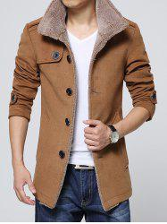 Epaulet Embellished Single-Breasted Turn-Down Collar Fleece Coat -