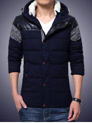 Plus Size Hooded PU-Leather Splicing Zip-Up Cotton-Padded Jacket