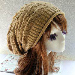 Triangle Jacquard Knitted Slouchy Beanie - CAMEL