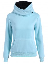 Concise Big Pocket Pullover Hoodie - LIGHT BLUE XL