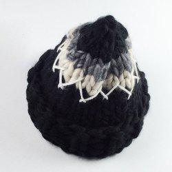 Color Block Bride Winter Beanie Cap - Noir