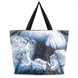 Color Splicing Leopard Print Canvas Shoulder Bag -
