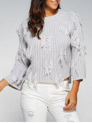 Loose Round Neck Ripped Fringed Sweater -