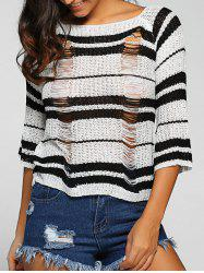 Round Neck Striped Jumper Ripped Sweater - BLACK ONE SIZE