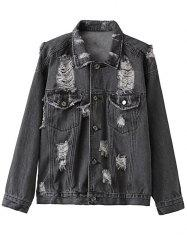 Shirt Collar Ripped Denim Jacket -
