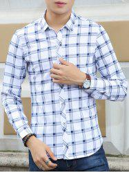 Turn-Down Collar Checked Pattern Long Sleeve Shirt -