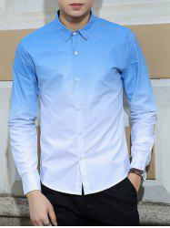 Turn-Down Collar Ombre Long Sleeves Shirt