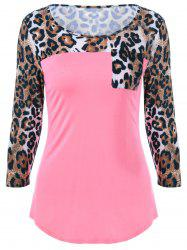 Single Pocket Leopard Print T-Shirt