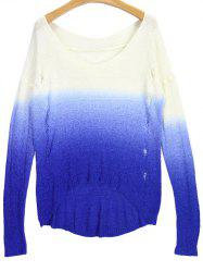 V Neck High Low Ombre Ripped Sweater - BLUE AND WHITE