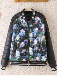 Striped Hem Floral Print Plus Size Quilted Bomber Jacket - BLACK