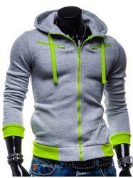Color Splicing Zippered Drawstring Hoodie
