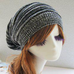 Stripy Color Block Knitted Slouchy Beanie - BLACK