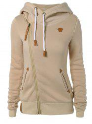 Skew Zipper Hooded Hoodie - LIGHT KHAKI
