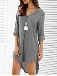 Asymmetrical V Neck Casual Knee Length Going Out Dress - GRAY