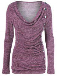 Side Button Cowl Neck Knitted Long Sleeve Sweater - COLORMIX