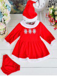Snow Long Sleeve Dress + Briefs + Hat Christmas Set - RED